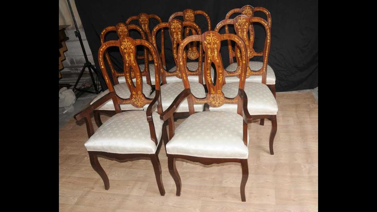 - Set 8 Italian Marquetry Dining Chairs Inlay Arm Chair - YouTube
