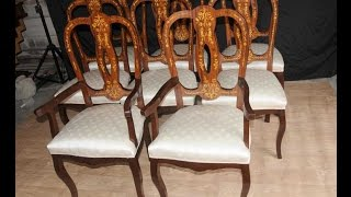 Set 8 Italian Marquetry Dining Chairs Inlay Arm Chair