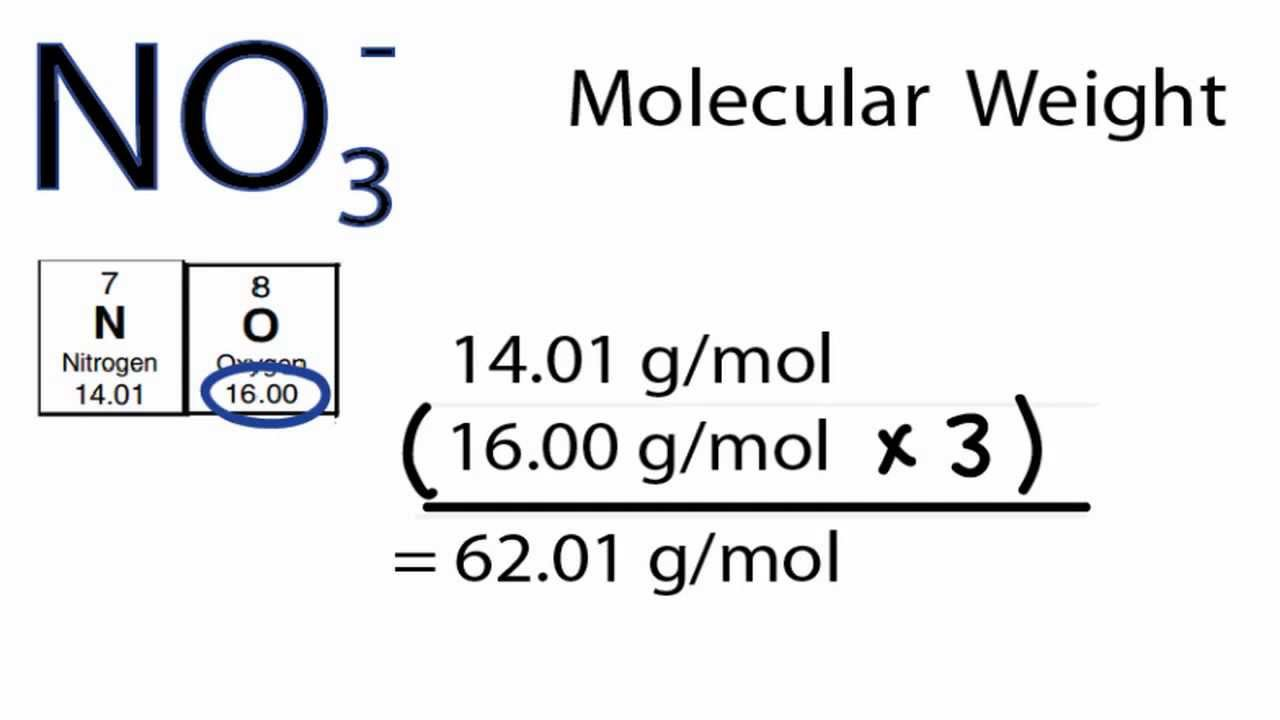 NO3- Molecular Weight: How to find the Molar Mass of NO3