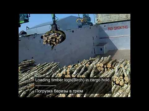Loading timber logs in cargo hold. Timber terminal. Cargo ship. Погрузка брёвен в трюм.