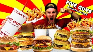 THE SUPERCHARGED FIVE GUYS MENU CHALLENGE! (10,000+ CALORIES)