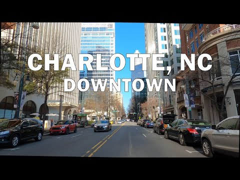 Charlotte, NC - Driving downtown 4K