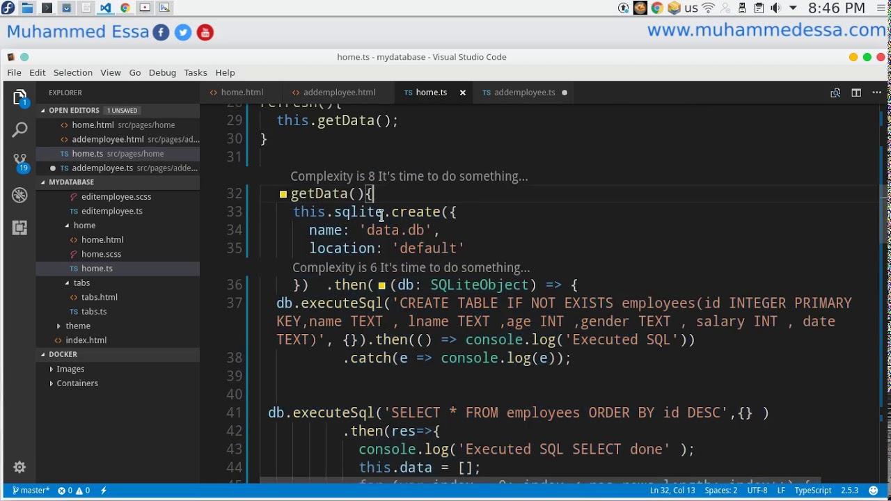 87 Ionic 3 SQLite Employee database project