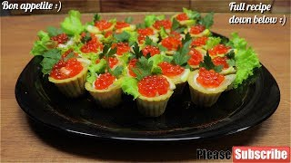 🎄Caviar Tartlets with Cream Cheese And Shrimps🎄Happy New Year Appetizer With Caviar🎄