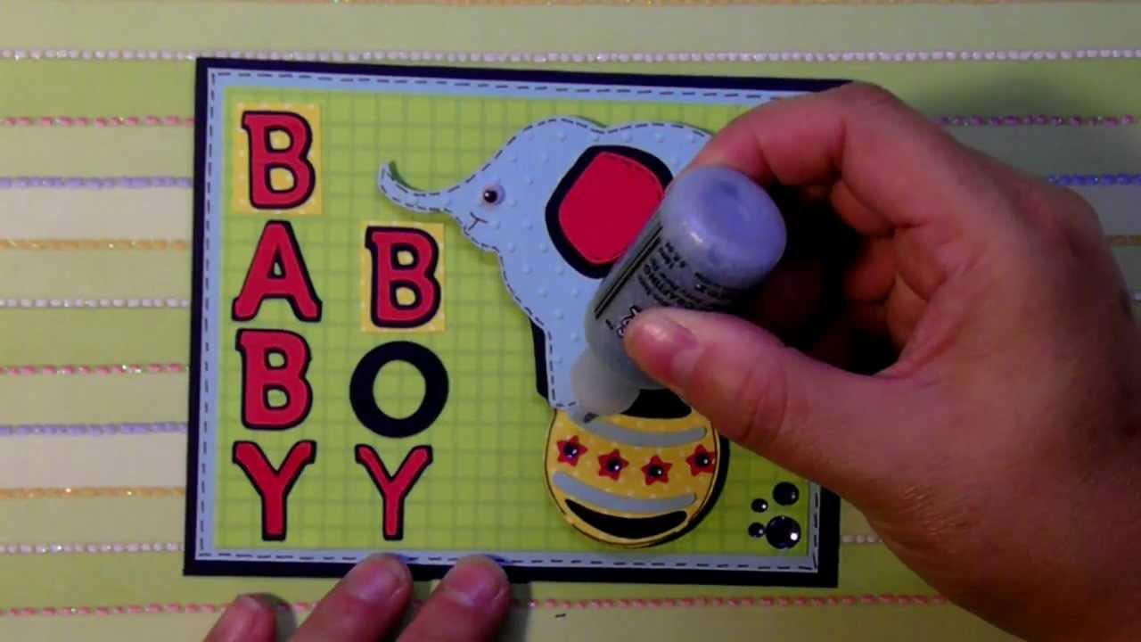 "cricut ""Baby Boy"" elephant on ball card B is for Boy ..."