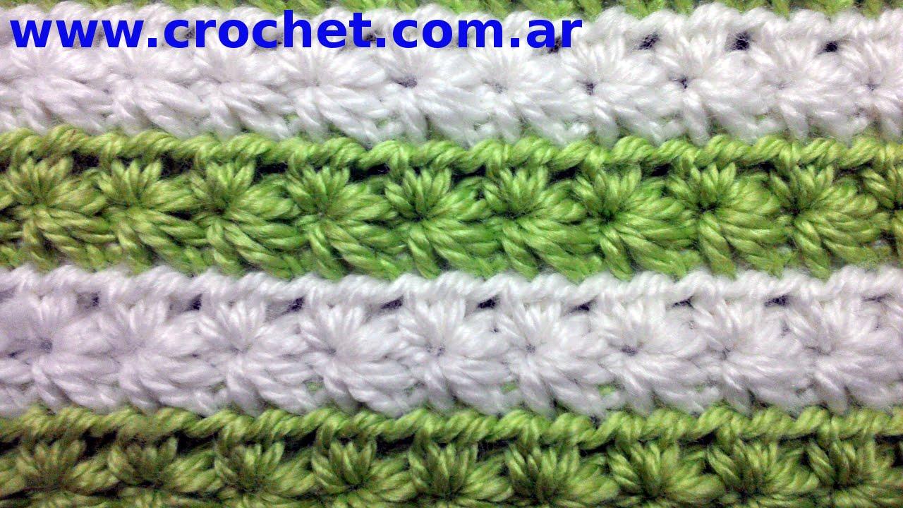 PUNTO fantasía n° 11 ESTRELLA en tejido Crochet o ganchillo tutorial ...
