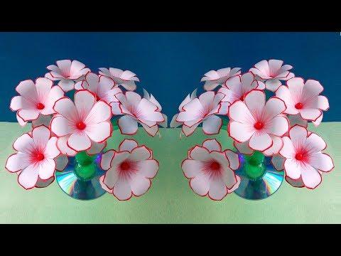 How to make Flowers - Empty Plastic Bottle Vase Making Craft - Water Bottle Recycle Flower Vase