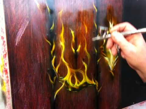 Learn To Airbrush Wood - Learn To Paint Fire and Cracks - Free Airbrushes