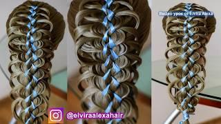Коса с лентой на выпускной  Ажурное плетение  Hair tutorial  Trenza