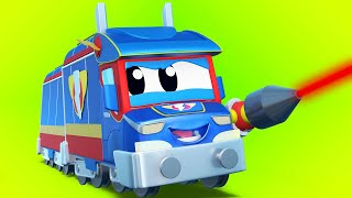 Truck cartoons for kids -  TRAIN CARTOON AND SUPER LASER - Super Truck in Car City !
