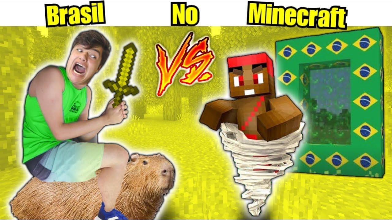 ENTREI NO BRASIL DENTRO DO MINECRAFT !! (Dimensão do Brasil)