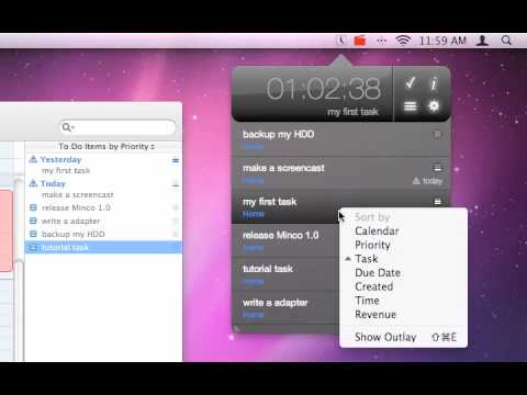 Time tracking sophisticated on Mac OS X - Minco Screencast