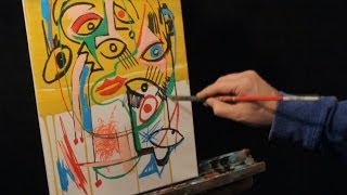 HOW TO PAINT WITH ACRYLICS FUNKY PICASSO STYLE ABSTRACT FACE STEP BY STEP
