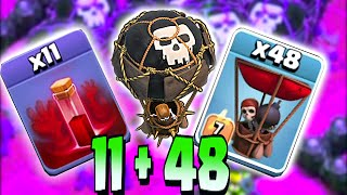 Clash Of Clans - ALL SKELETONS SPELLS w/ BALLOONS!! CHALLENGE RAID!! (Troll attack on TH11)