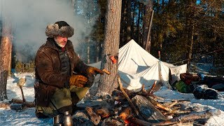 Winter Camping with Two Dogs in a Canvas Tent in the Canadian Wilderness | Bushcraft