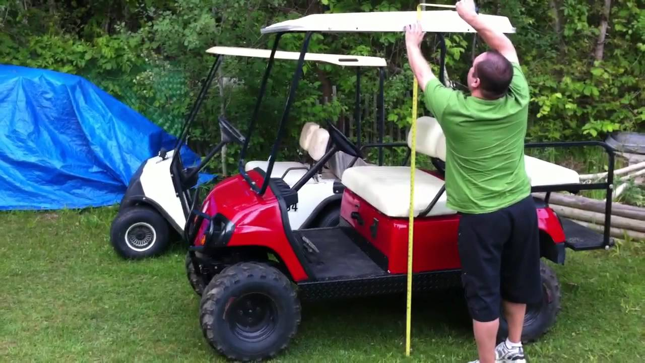 Golf cart measurements - YouTube Ezgo Golf Cart Precedent Roofs on radio install golf cart roof, club car roof, ezgo marathon roof, ezgo extended roof, golf cart extended roof, yamaha golf cart roof, custom golf cart roof, universal golf cart roof, 80-inch golf cart roof, rhino golf cart roof,