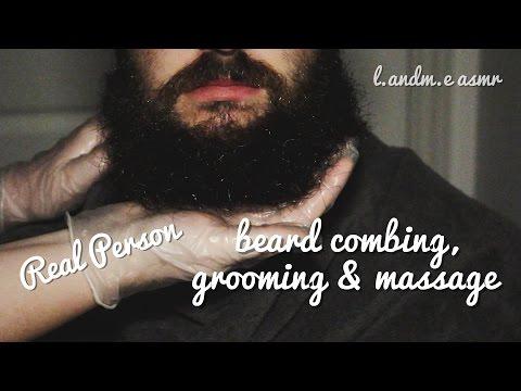 ASMR 💆    REAL PERSON beard brushing, grooming & massage    no talking 🤐   