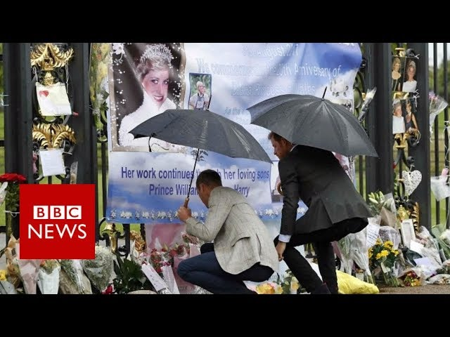 William and Harry lay flowers for Princess Diana at Kensington Palace - BBC News