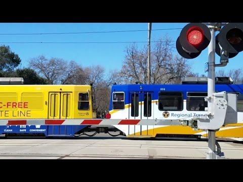 V Street Railroad Crossing, SACRT Car 134 Repainted On Outbound Train, Sacramento CA
