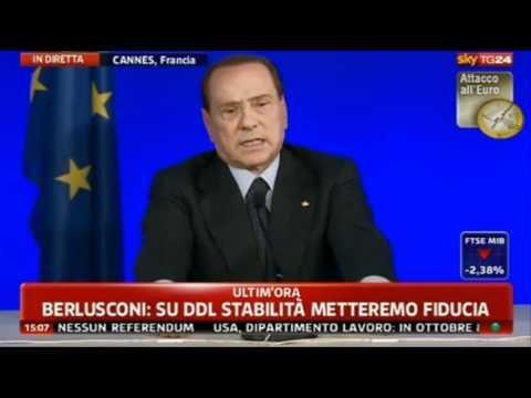 Conferenza stampa Berlusconi-Tremonti al G20 sulla crisi economica (04/11/'11)