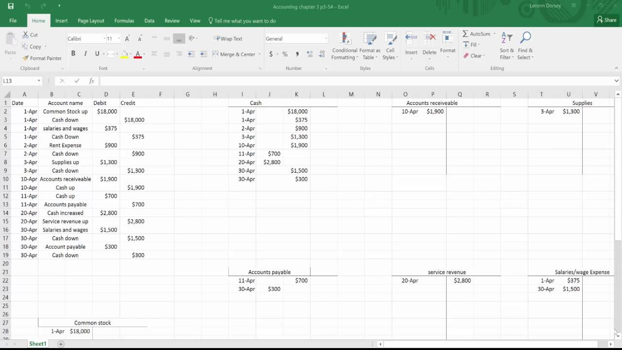 how to do t accounts in excel