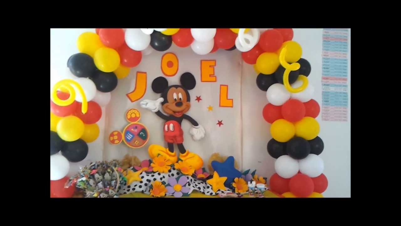 Decoraci n cumplea os mickey mouse 5 youtube for Decoracion de puertas para cumpleanos