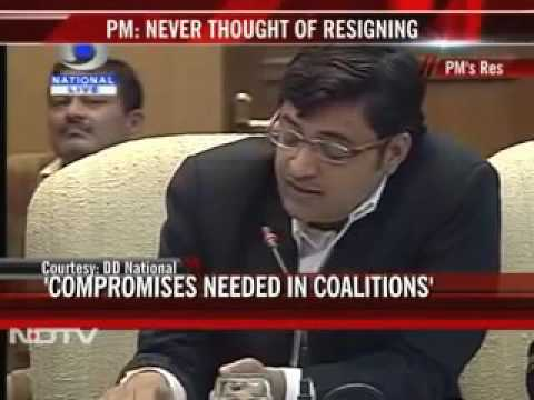 Arnab Goswami's Questions Manmohan Singh at the Editors Meet, 2011