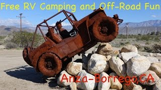 RV dispersed Camping and Off-Road Exploring and Wildflower desert b...