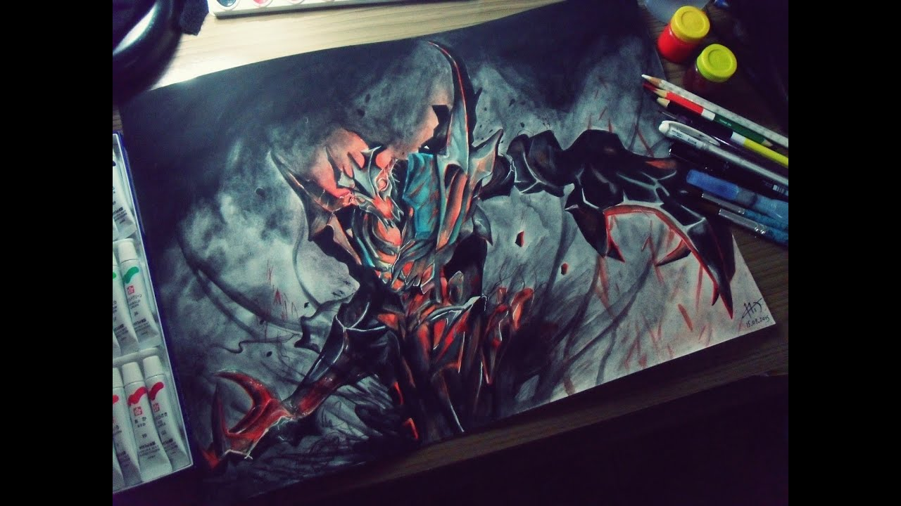 speed drawing shadow fiend from dota 2 youtube