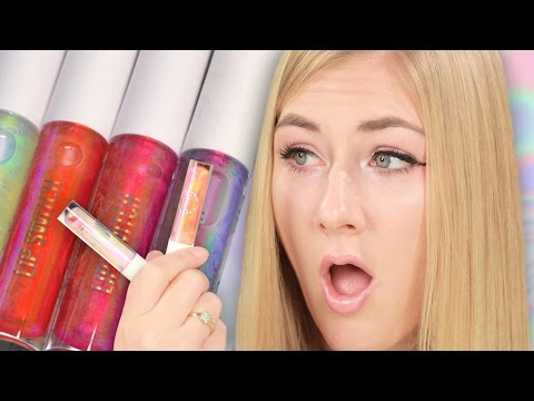 Women Try Holographic Lip Glosses