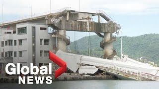 Video captures moment Tawain bridge collapses, injuring at least 10