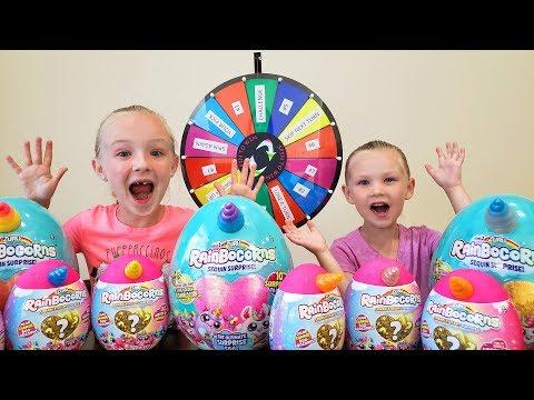Mystery Wheel Challenge Opening Rainbocorn Sequin Surprise Eggs!