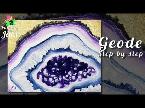 Geode - Step by Step Acrylic Painting on Canvas for Beginners