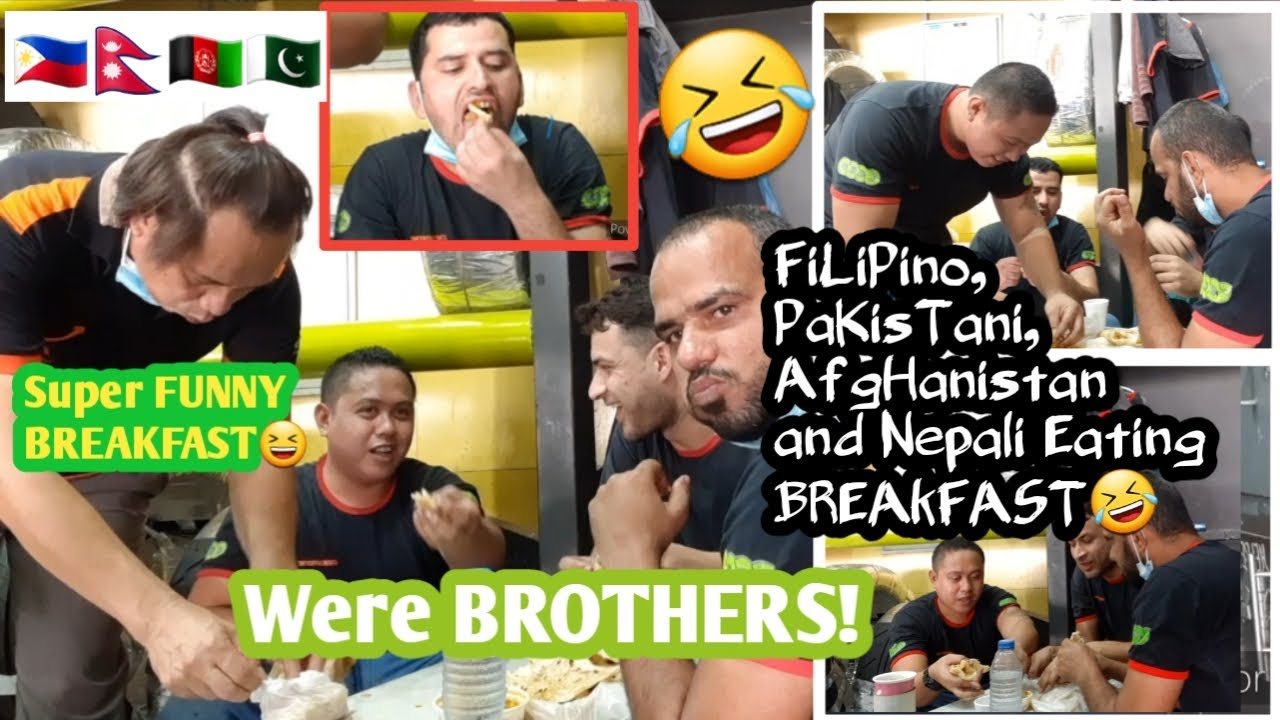Super FUNNY filipino and pakistani friends eating breakfast together. #werebrothers