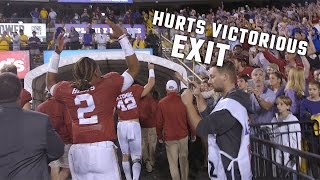 Watch Jalen Hurts victoriously run off the field, then wait to congratulate Nick Saban