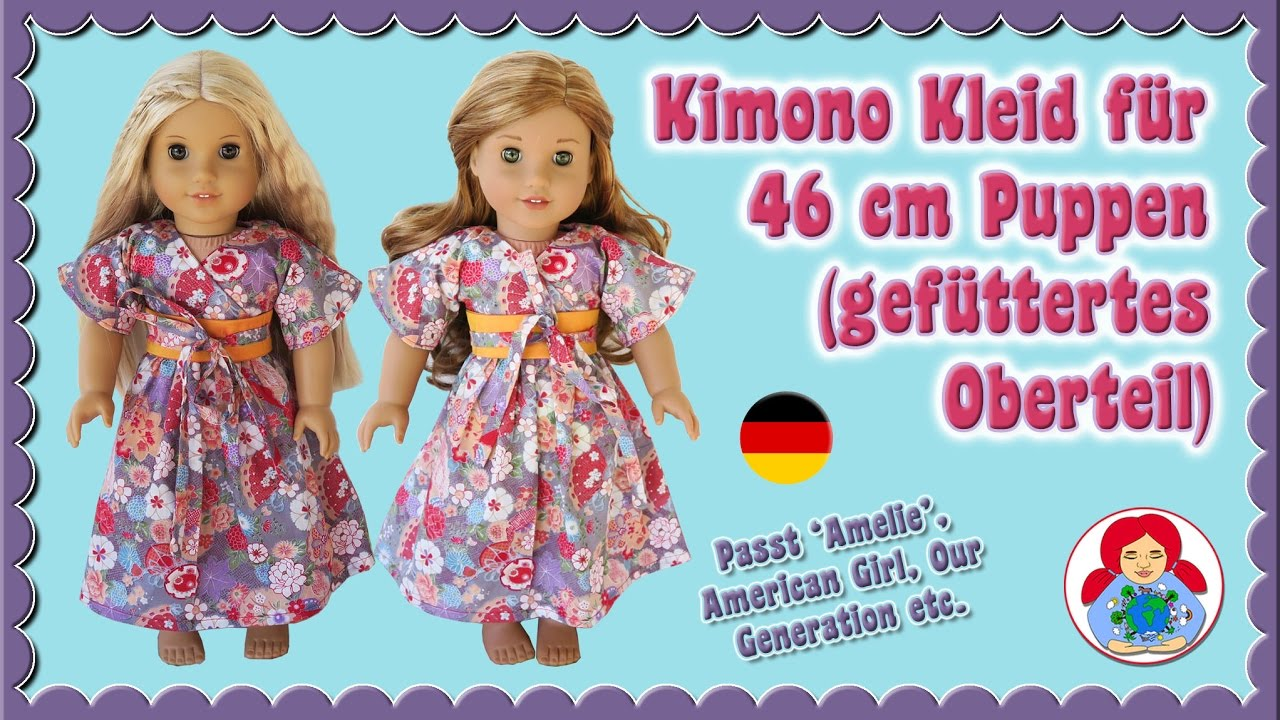 DIY   Kimono Kleid für American Girl Dolls selber nähen (gefüttertes ...