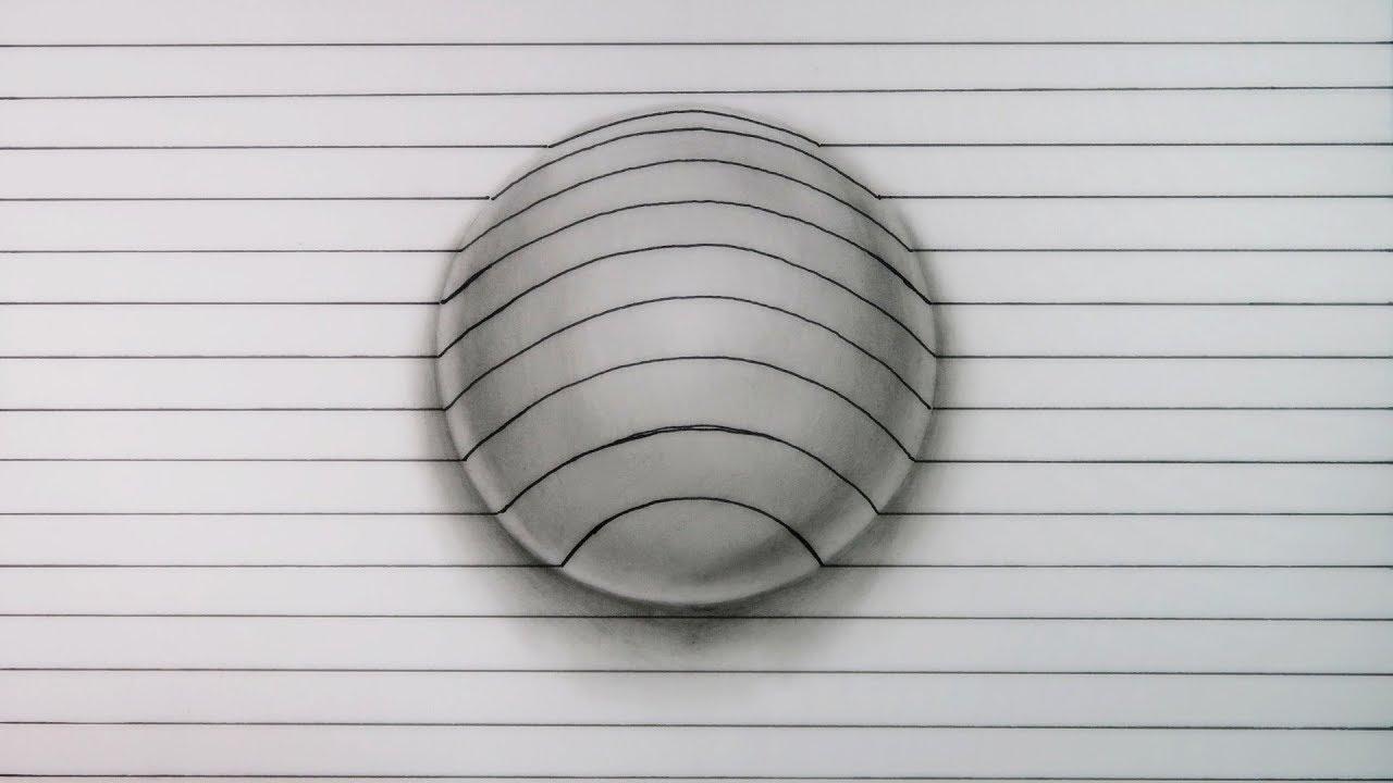 Como Dibujar Un Corazón En 3d Con Lineas: Cómo Dibujar Esta INCREÍBLE Esfera 3D
