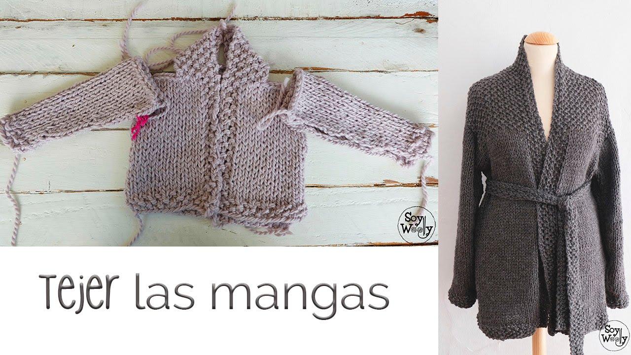 Cómo tejer chaqueta de bebé/adulto (dos agujas) PARTE III: mangas ...