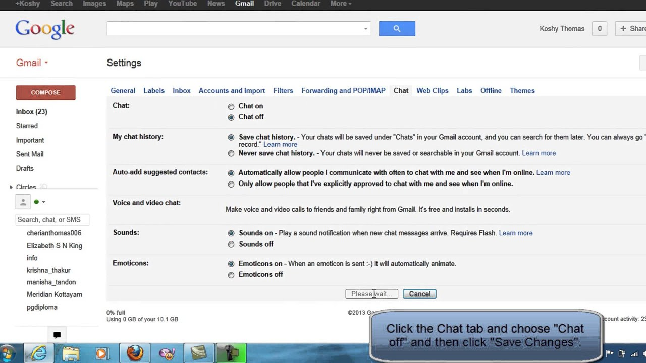 HOW TO DISABLE OR ENABLE CHAT IN GMAIL ACCOUNT YouTube