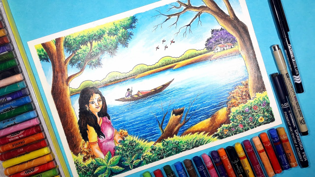 How to draw beautiful scenery with human figure with oil pastel step by step