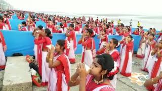 Sound of Conch by 5000 ladies at Digha Sea Beach a Guiness Record...