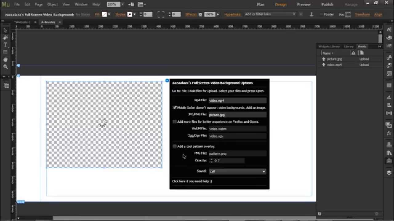 Adobe Muse Full Screen Video Background Widget Tutorial and Free Download