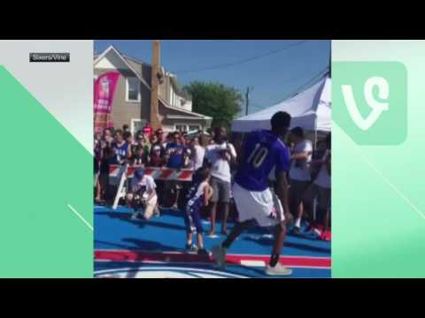 Joel Embiid swats little kid's shot away