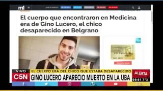 C5N - Sociedad: Gino Lucero apareció muerto en la facultad de Medicina de la UBA
