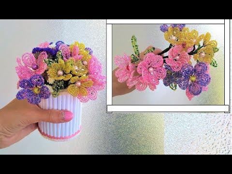 Цветы на 8 марта из бисера