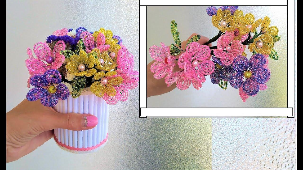 Цветы из бусин своими руками фото