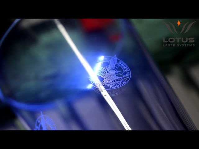 Lotus Laser Systems Meta C 5w UV laser engraving a glass
