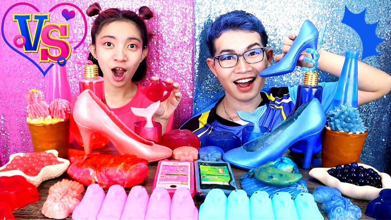 ชาเลนจ์สีชมพู VS สีน้ำเงิน #Mukbang Pink Food VS Blue Food Challenge 핑크 푸드 VS 블루 푸드:ขันติ