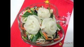 Салат из свежих овощей 'Белые розы' (Сметана, Дайкон, Морковь, Огурцы)