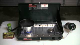 Coleman 2 burner propane stove easy setup fast cooking